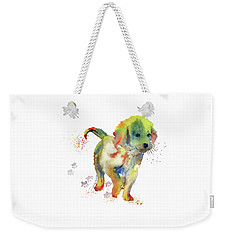 Colorful Puppy Watercolor - Little Friend Weekender Tote Bag by Melly Terpening