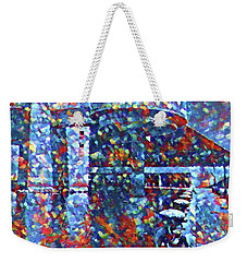 Weekender Tote Bag featuring the painting Colorful Rock And Roll Hall Of Fame Museum by Dan Sproul
