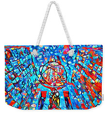Weekender Tote Bag featuring the painting Colorful Rockefeller Center Atlas by Dan Sproul