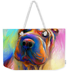 Colorful Shar Pei Dog Portrait Painting  Weekender Tote Bag by Svetlana Novikova