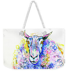 Weekender Tote Bag featuring the painting Colorful Sheep by Zaira Dzhaubaeva