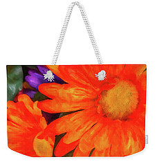 Weekender Tote Bag featuring the photograph Colorful Silk Flowers by SR Green