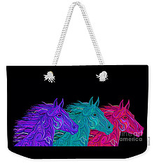 Weekender Tote Bag featuring the drawing Colorful Stallions  by Nick Gustafson