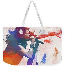 Colorful Steven Tyler Paint Splatter Weekender Tote Bag