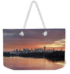 Colorful Sunset Over Vancouver Bc Downtown Skyline Weekender Tote Bag