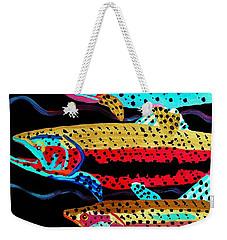 Colorful Swimming Trout Weekender Tote Bag by Scott D Van Osdol