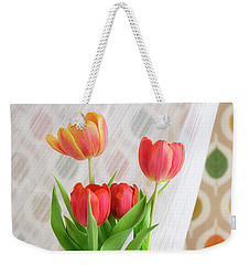 Colorful Tulips And Bulbs In Glass Vase Weekender Tote Bag