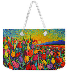 Colorful Tulips Field Sunrise - Abstract Impressionist Palette Knife Painting By Ana Maria Edulescu Weekender Tote Bag