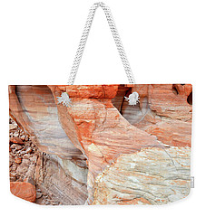 Weekender Tote Bag featuring the photograph Colorful Wall Of Sandstone In Valley Of Fire by Ray Mathis