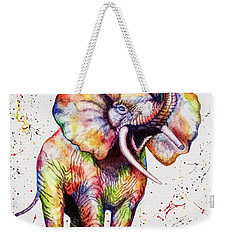 Colorful Watercolor Elephant Weekender Tote Bag by Georgeta Blanaru