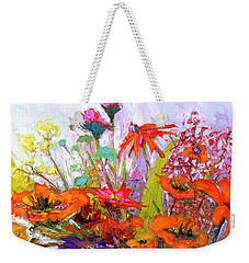 Weekender Tote Bag featuring the painting Colorful Wildflowers Bunch, Oil Painting, Palette Knife by Patricia Awapara