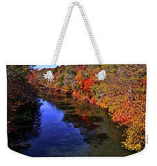 Colors Of Nature - Fall River Reflections 001 Weekender Tote Bag by George Bostian