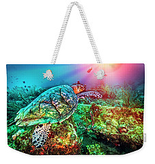 Weekender Tote Bag featuring the photograph Colors Of The Sea In Lights by Debra and Dave Vanderlaan