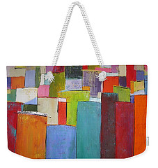 Weekender Tote Bag featuring the painting Colour Block7 by Chris Hobel