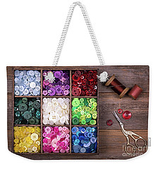 Colourful Buttons With Needle, Thread And Scissors Weekender Tote Bag