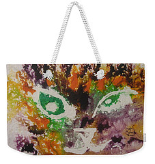 Weekender Tote Bag featuring the drawing Colourful Cat Face by AJ Brown