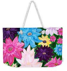 Weekender Tote Bag featuring the painting Colourful Flowers by Sonya Nancy Capling-Bacle