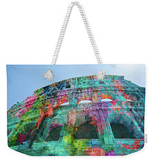 Weekender Tote Bag featuring the mixed media Colourful Grungy Colosseum In Rome by Clare Bambers