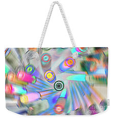 Weekender Tote Bag featuring the digital art Colourful Pens by Wendy Wilton