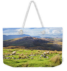 Weekender Tote Bag featuring the photograph Colourful Undulating Irish Landscape In Kerry With Grazing Sheep by Semmick Photo