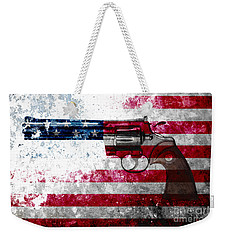 Colt Python 357 Mag On American Flag Weekender Tote Bag