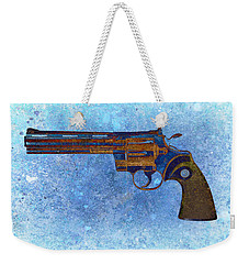 Colt Python 357 Mag On Blue Background. Weekender Tote Bag