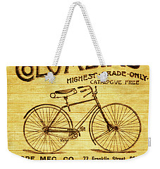 Weekender Tote Bag featuring the mixed media Columbia Bicycle Vintage Poster On Wood by Dan Sproul