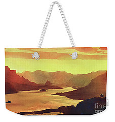 Weekender Tote Bag featuring the painting Columbia Gorge Scenery by Ryan Fox