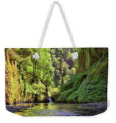 Columbia Gorge Waterfall In Summer Weekender Tote Bag