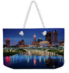 Weekender Tote Bag featuring the photograph Columbus Ohio Skyline At Night by Adam Romanowicz