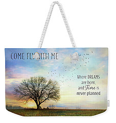 Weekender Tote Bag featuring the photograph Come Fly With Me by Lori Deiter