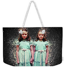 Weekender Tote Bag featuring the digital art Come Play With Us - The Shining Twins by Taylan Apukovska