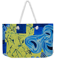 Weekender Tote Bag featuring the painting Comedy Or Tragedy by Maria Langgle