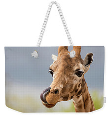 Comical Giraffe With His Tongue Out.  Weekender Tote Bag