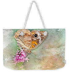 Weekender Tote Bag featuring the photograph Common Buckeye by Betty LaRue