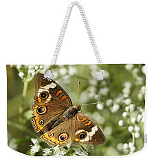 Common Buckeye Butterfly On White Thoroughwort Wildflowers Weekender Tote Bag