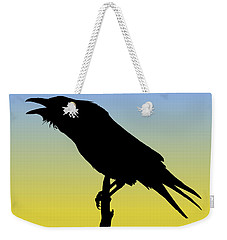 Common Raven Silhouette At Sunrise Weekender Tote Bag