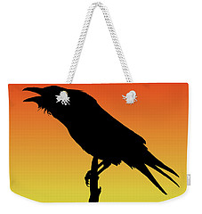 Common Raven Silhouette At Sunset Weekender Tote Bag