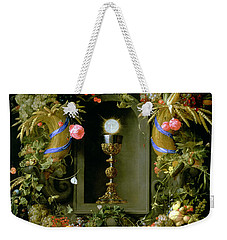 Communion Cup And Host Encircled With A Garland Of Fruit Weekender Tote Bag