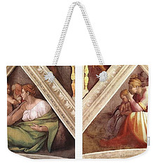 Comparative Sistine Chapel Michaelangelo Weekender Tote Bag by Suzanne Powers