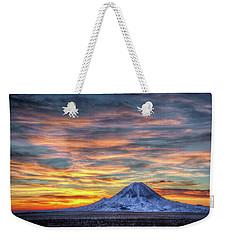 Complicated Sunrise Weekender Tote Bag by Fiskr Larsen