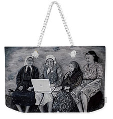 Weekender Tote Bag featuring the painting Computer Class by Judy Kirouac