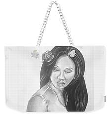 Female In Sorrow Charcoal Drawing  Weekender Tote Bag