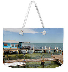 Conch Key Blue Cottage Weekender Tote Bag