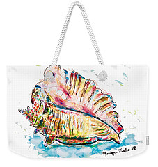 Weekender Tote Bag featuring the painting Conch Shell by Monique Faella