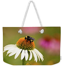 Coneflower And Bee Weekender Tote Bag by Phyllis Peterson