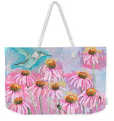 Coneflower Hummingbird Watercolor Weekender Tote Bag