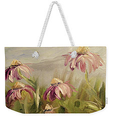Weekender Tote Bag featuring the painting Coneflowers by Donna Tuten