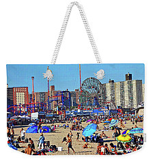Weekender Tote Bag featuring the photograph Coney Island Beach by Joan Reese