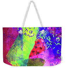 Weekender Tote Bag featuring the mixed media Confetti by Nancy Merkle